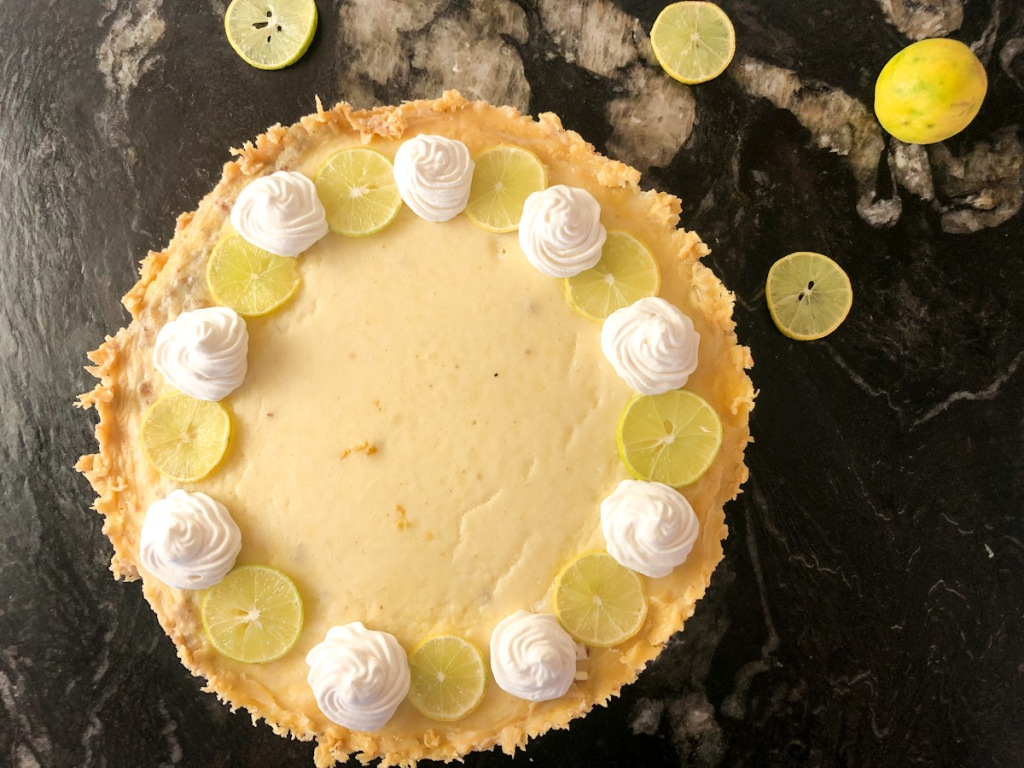 decorated keto key lime pie