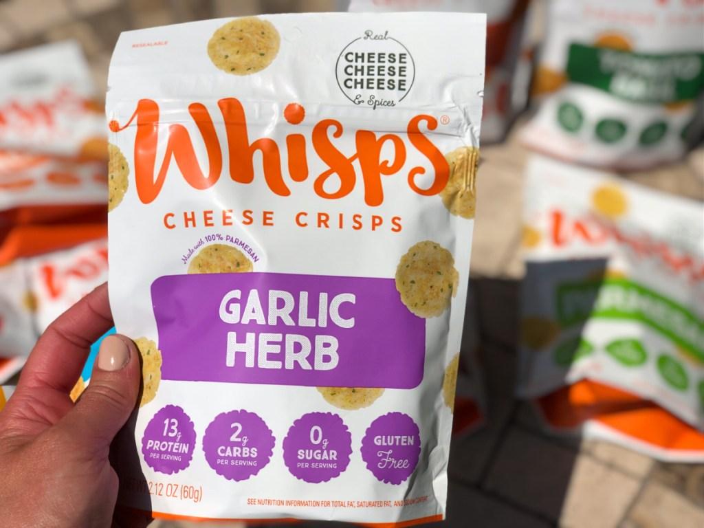 whisps cheese crisps garlic herb