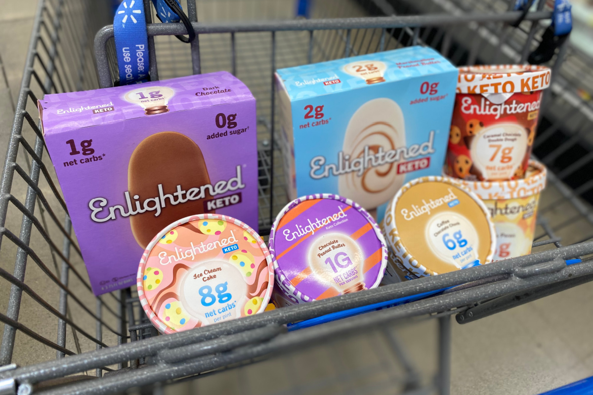 containers of enlightened frozen desserts in grocery cart