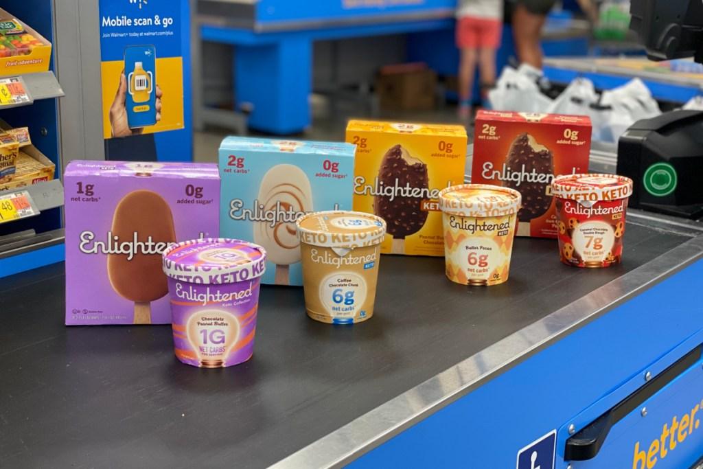 four different keto dessert flavors on a walmart store conveyor