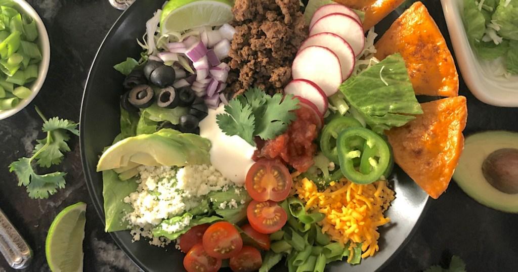 loaded keto taco salad toppings