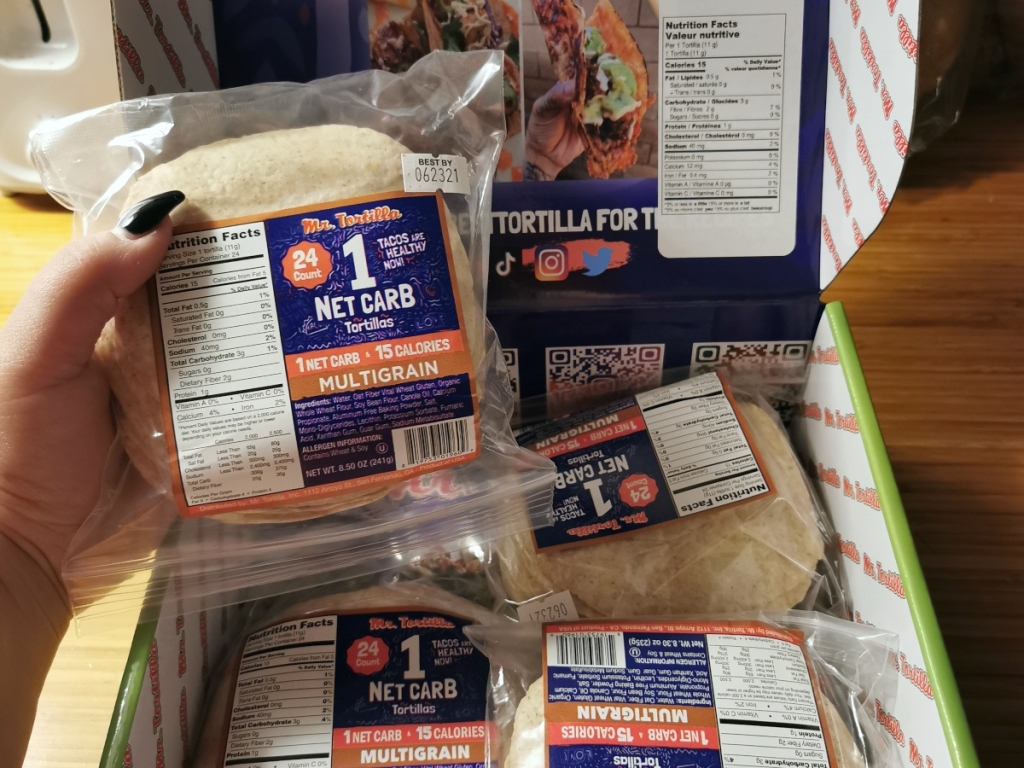 holding package of low-carb tortillas