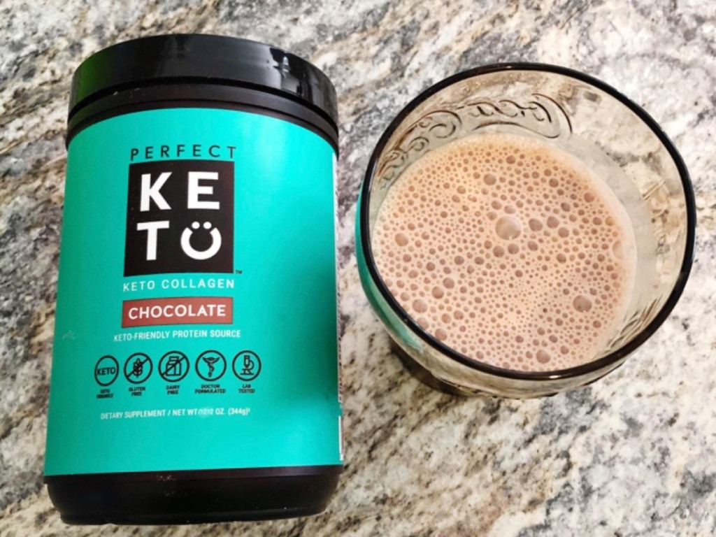 canister of keto collagen next to chocolate shake