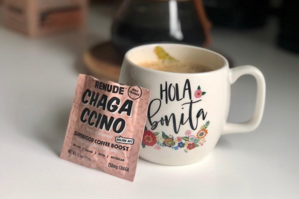 chagaccino packet leaning on mug
