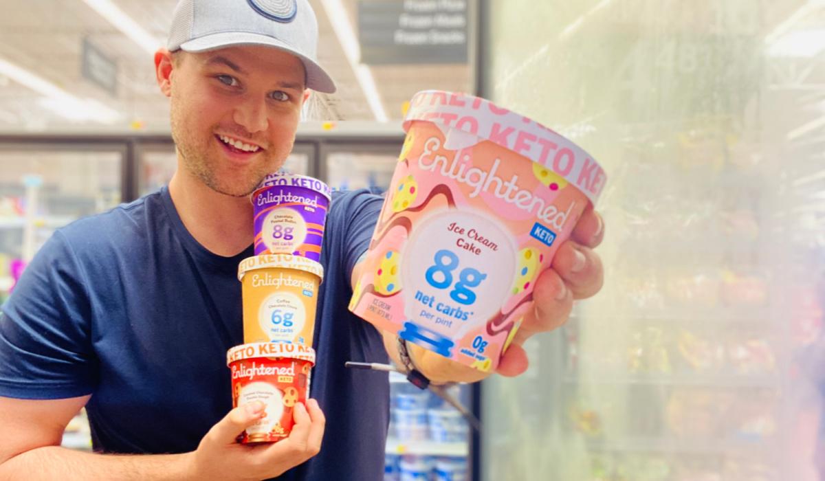 man holding ice cream cake flavored keto dessert