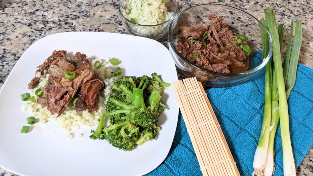 keto crockpot Mongolian Beef on a plate