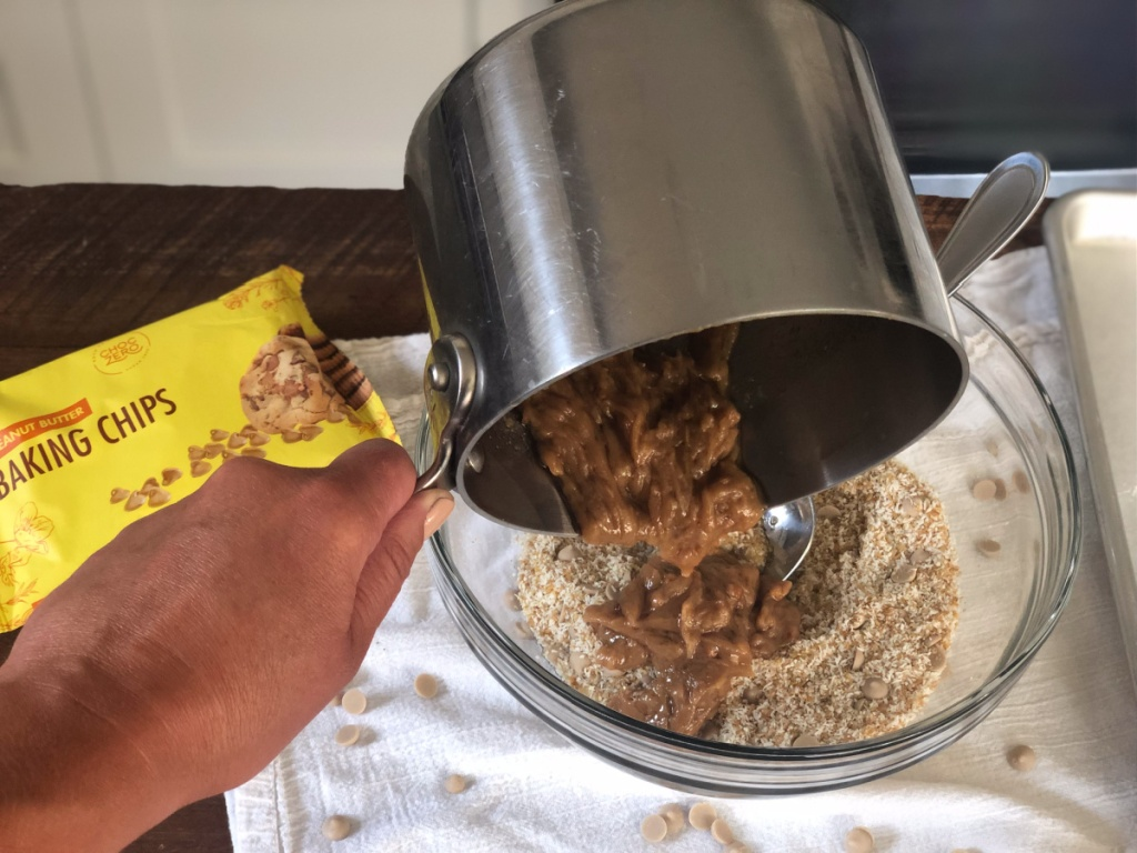 keto no-bake peanut butter cookies mixing wet and dry ingredients