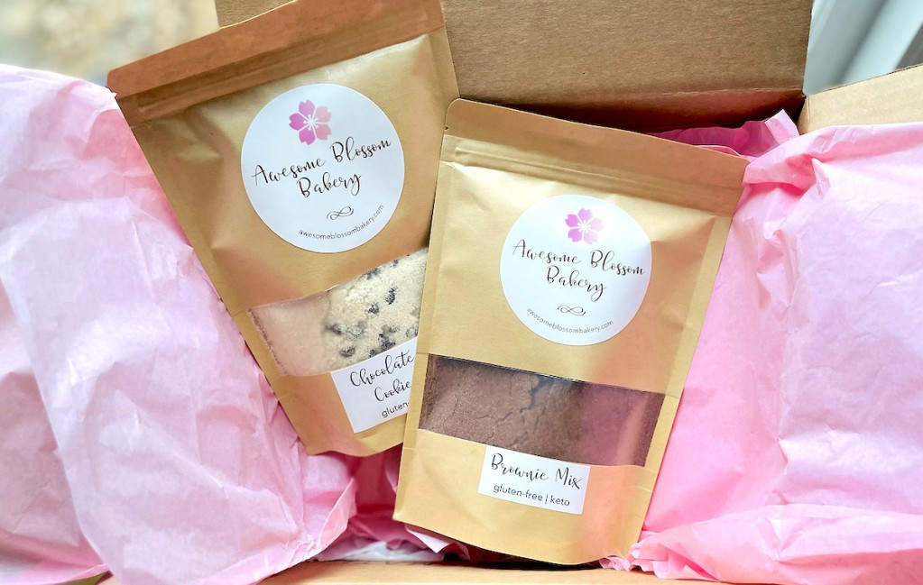 two awesome blossom baking mixes in box with pink tissue paper