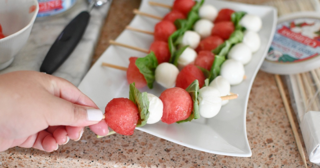 compiling watermelon caprese
