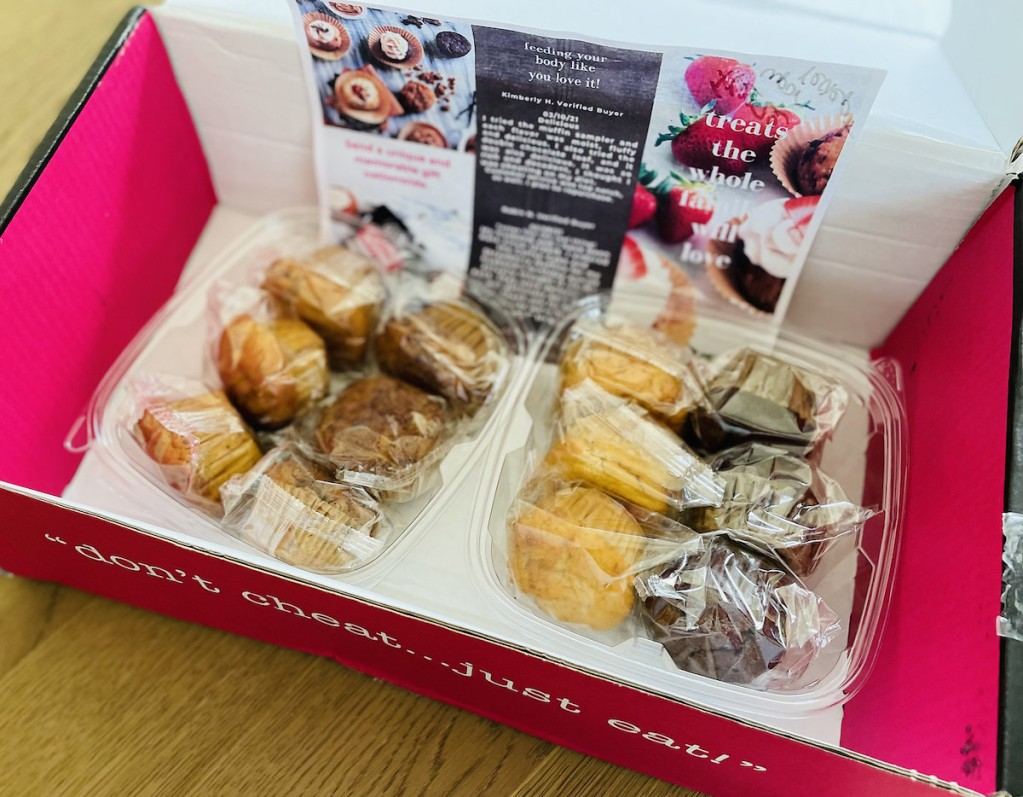 box full of keto muffins