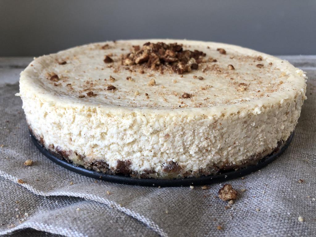 keto churro cheesecake in pan