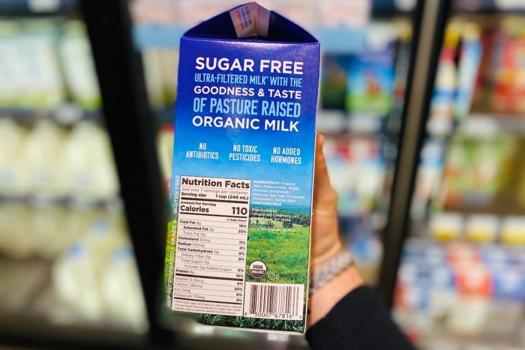 Back of Maple Hill keto milk carton