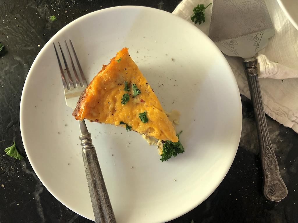 keto breakfast casserole slice on plate
