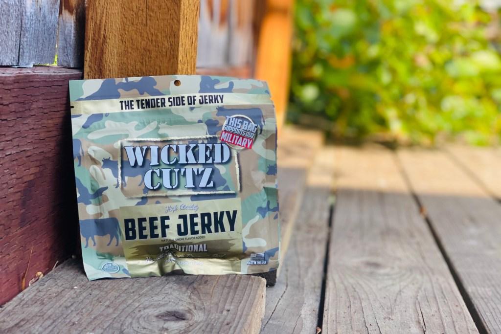 bag of wicked cutz beef jerky on deck