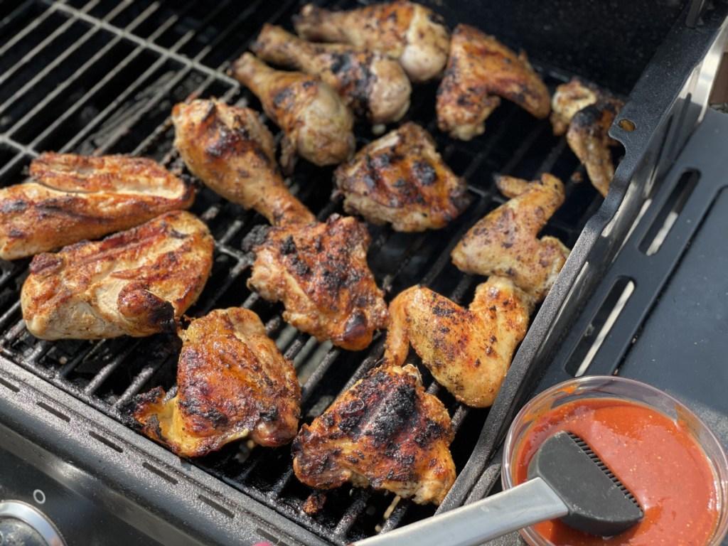 getting ready to baste keto bbq chicken