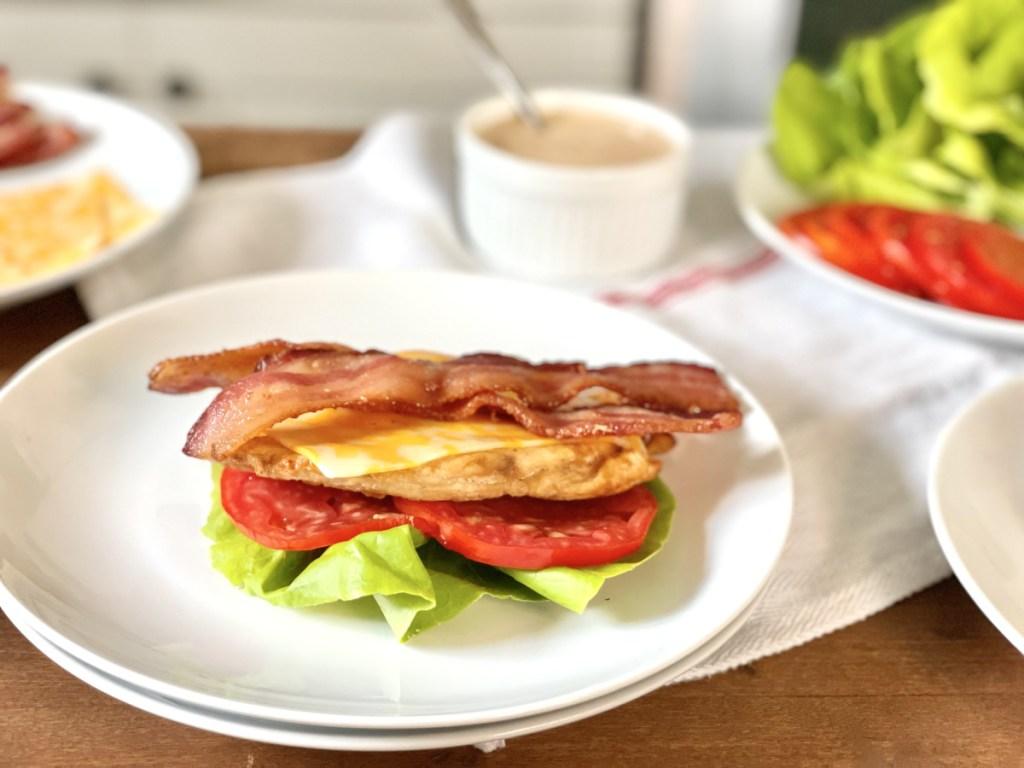 assembling keto chicken-fil-a grilled chicken sandwich