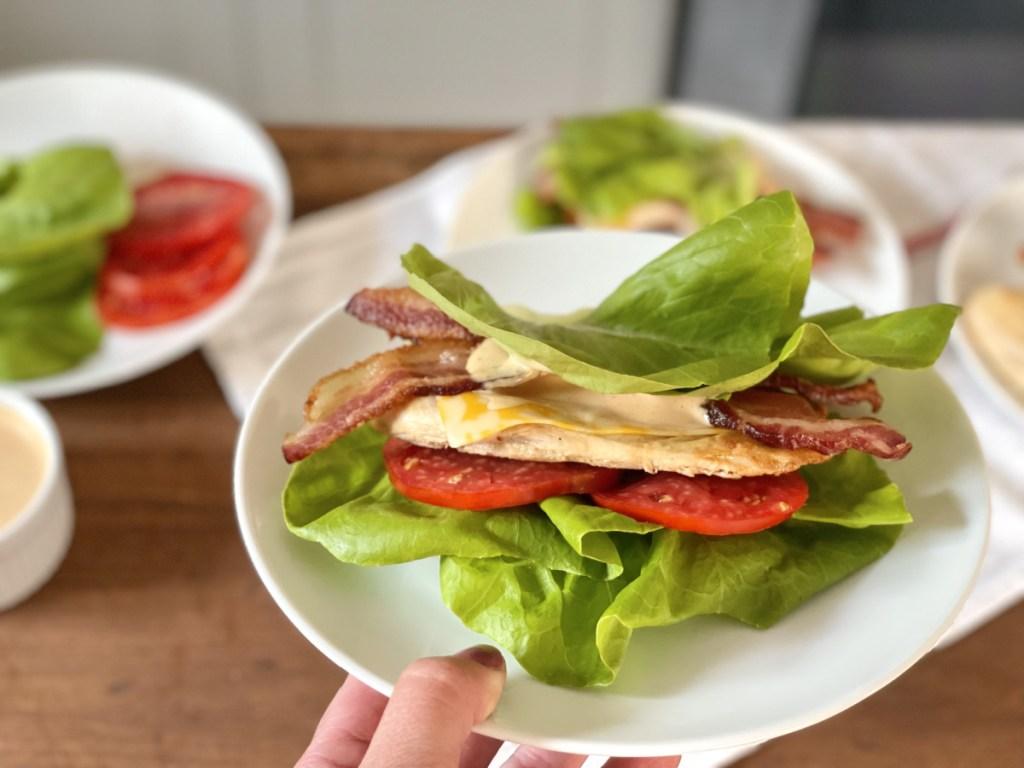 keto chicken-fil-a grilled chicken sandwich on a plate