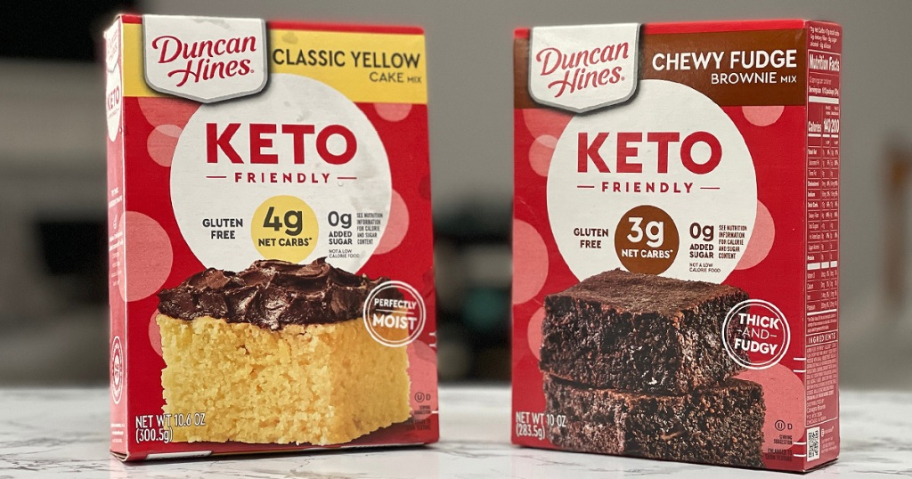 Duncan Hines Keto Cake Brownie Mix Boxes