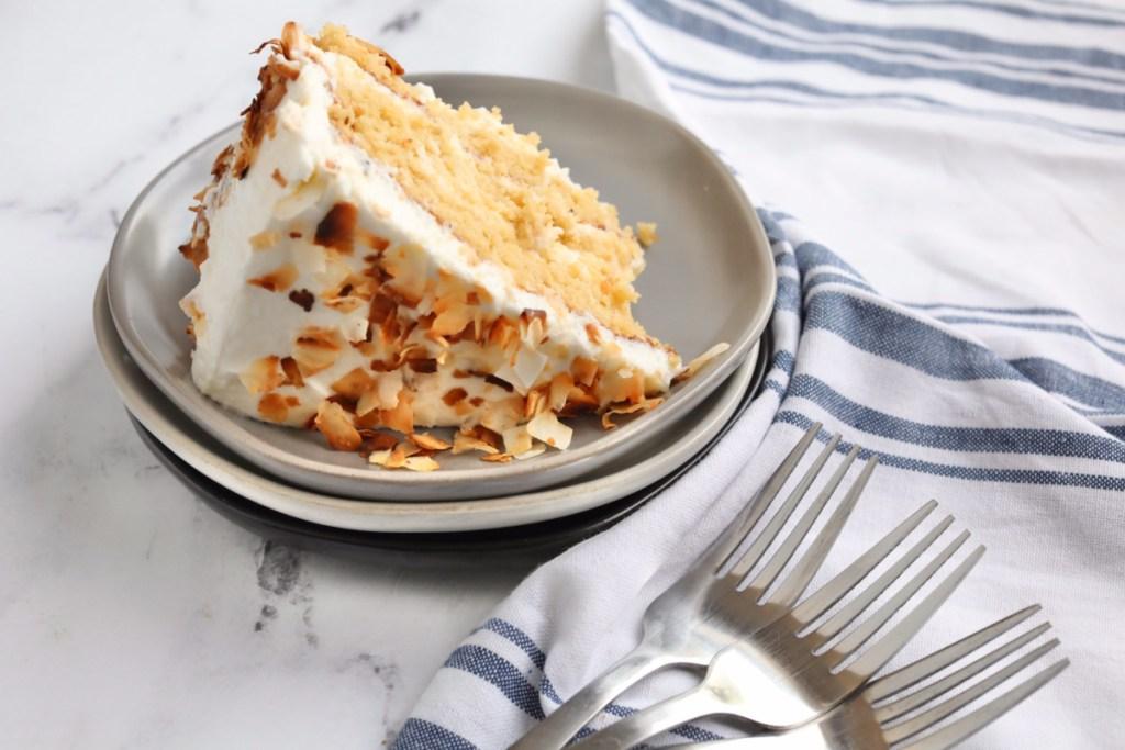 slice of keto coconut cake