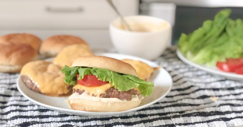 keto shake shack burger recipe burger on a plate
