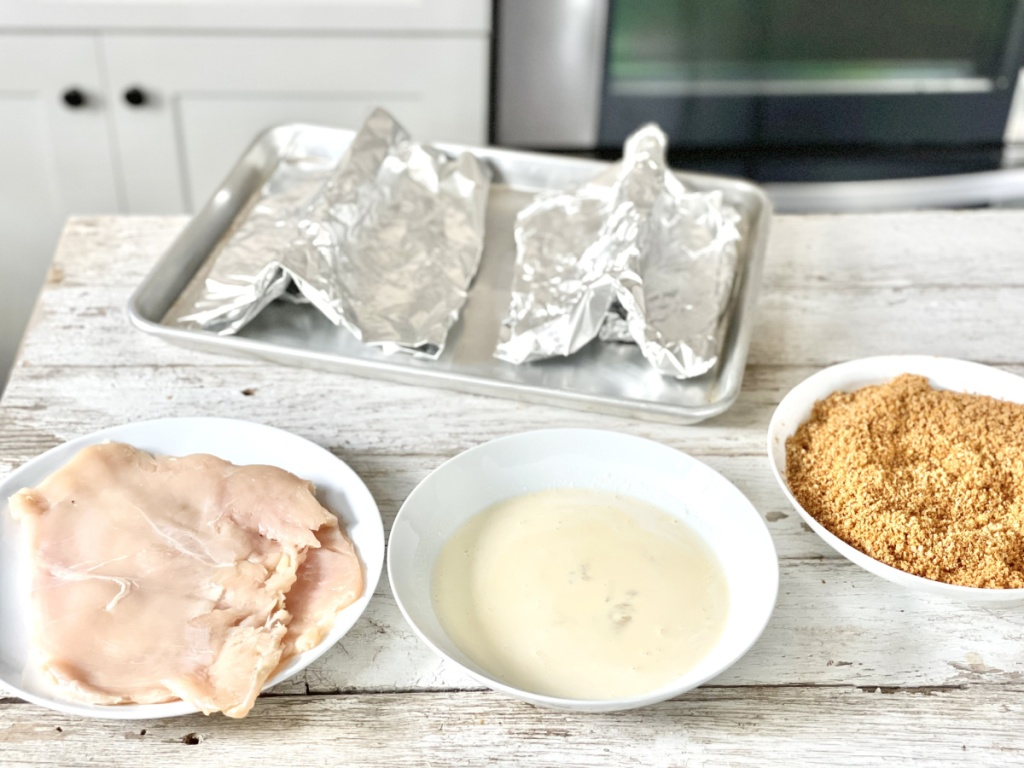 chicken, egg wash, breading for Naked Chicken Chalupa