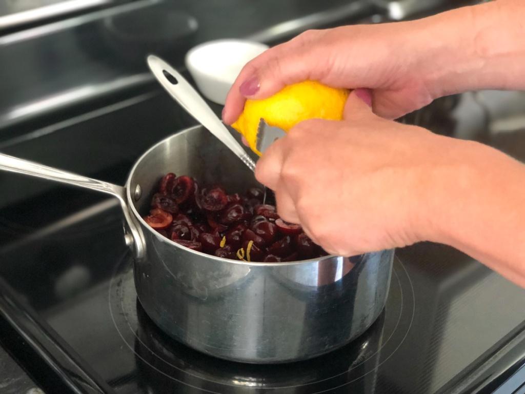 adding lemon zest to sugar-free cherry pie filling
