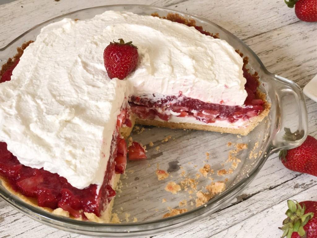 keto strawberry pie in pan