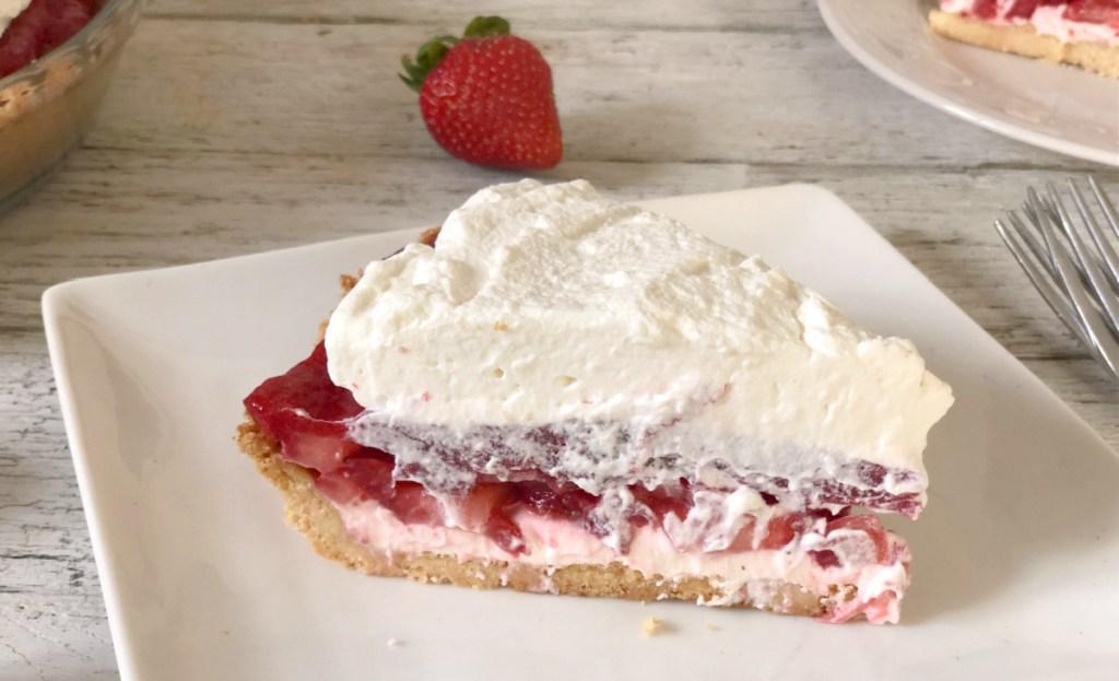 slice of sugar free keto strawberry pie