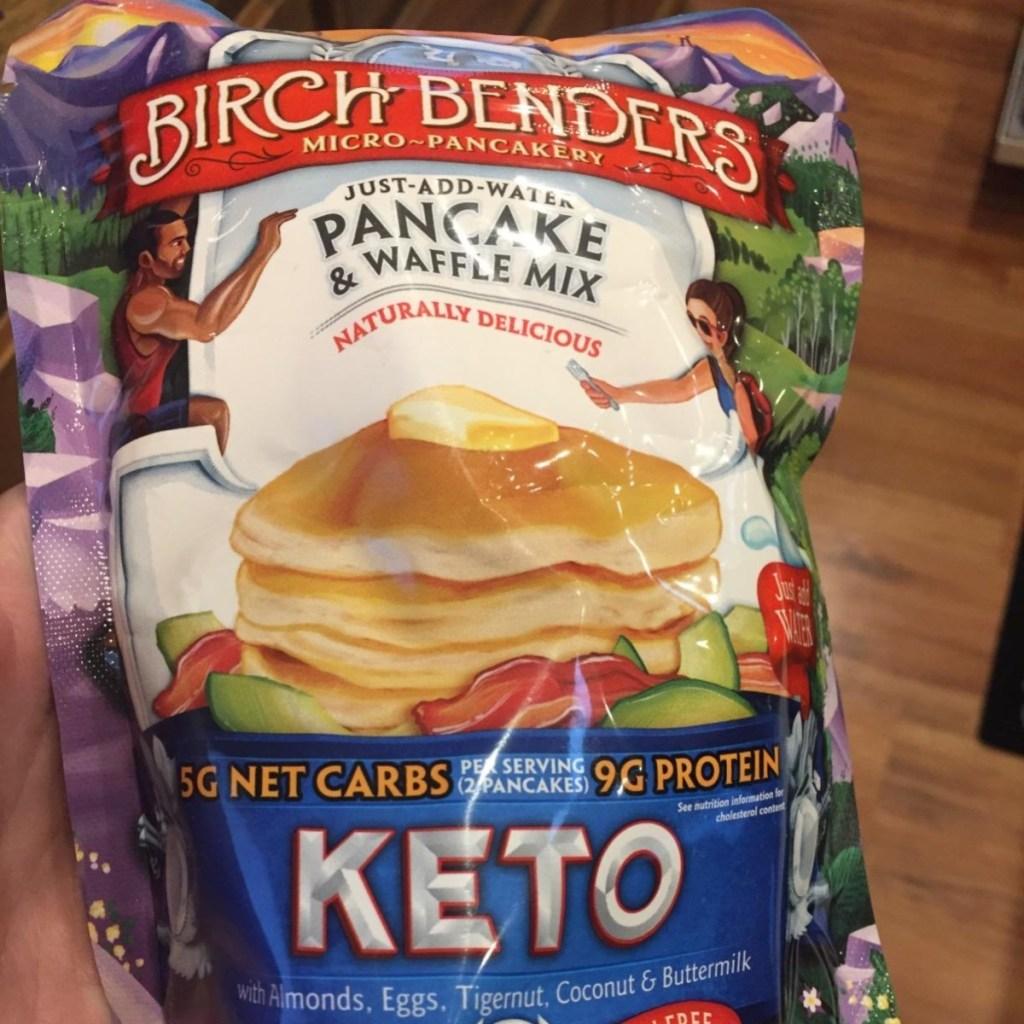 holding keto pancake mix