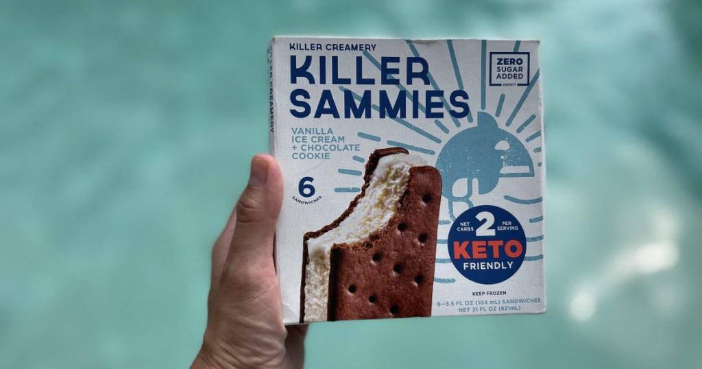 box of keto ice cream sandwiches near pool