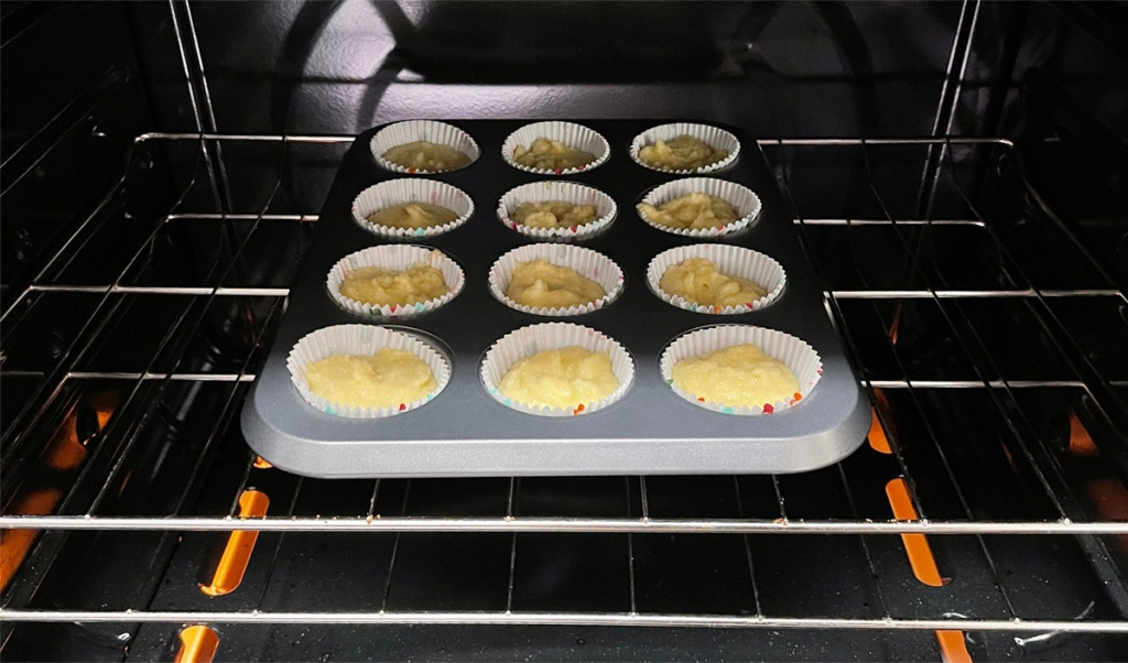 cupcakes baking in oven