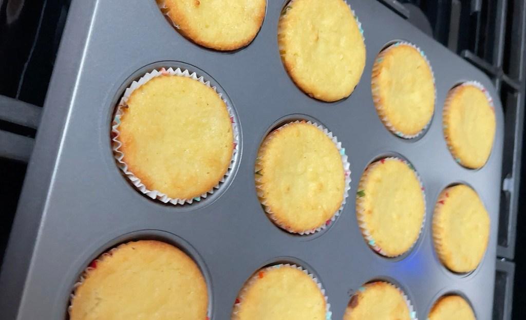 keto cupcakes in pan