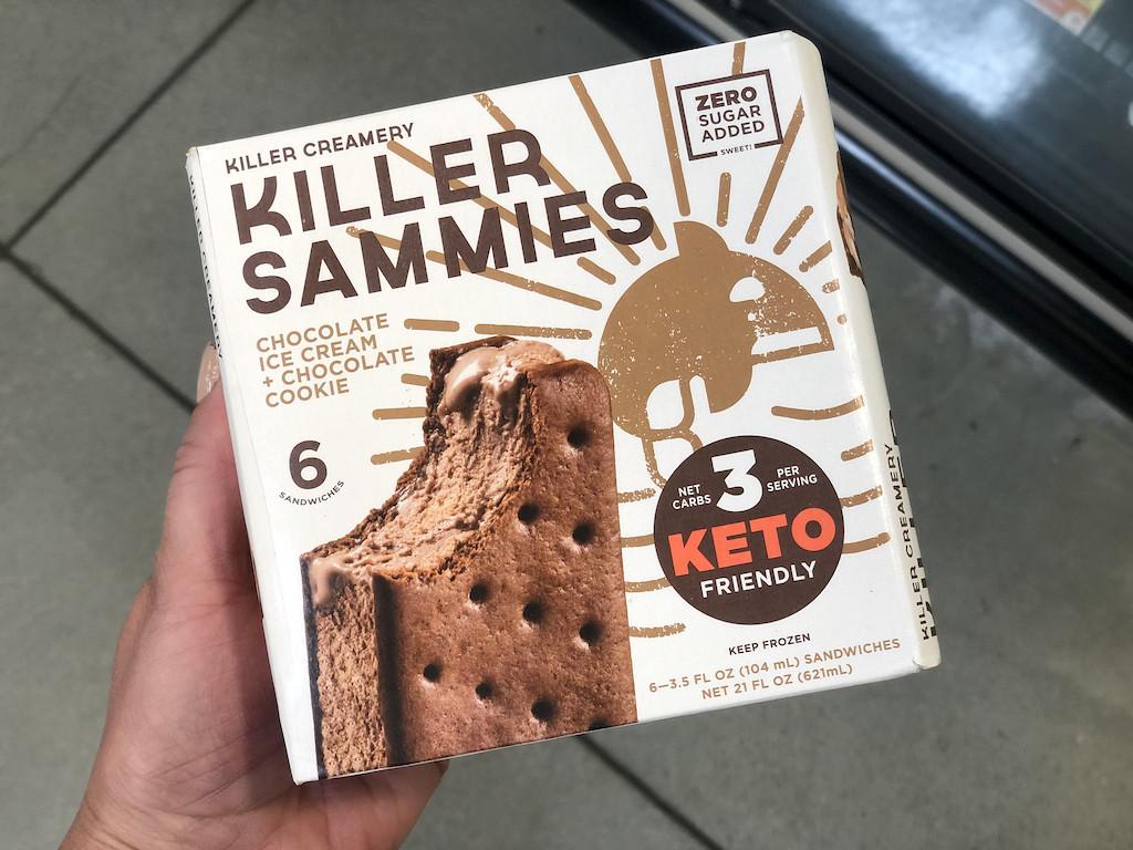 holding box of Killer Creamery killer ice cream sandwiches in-store