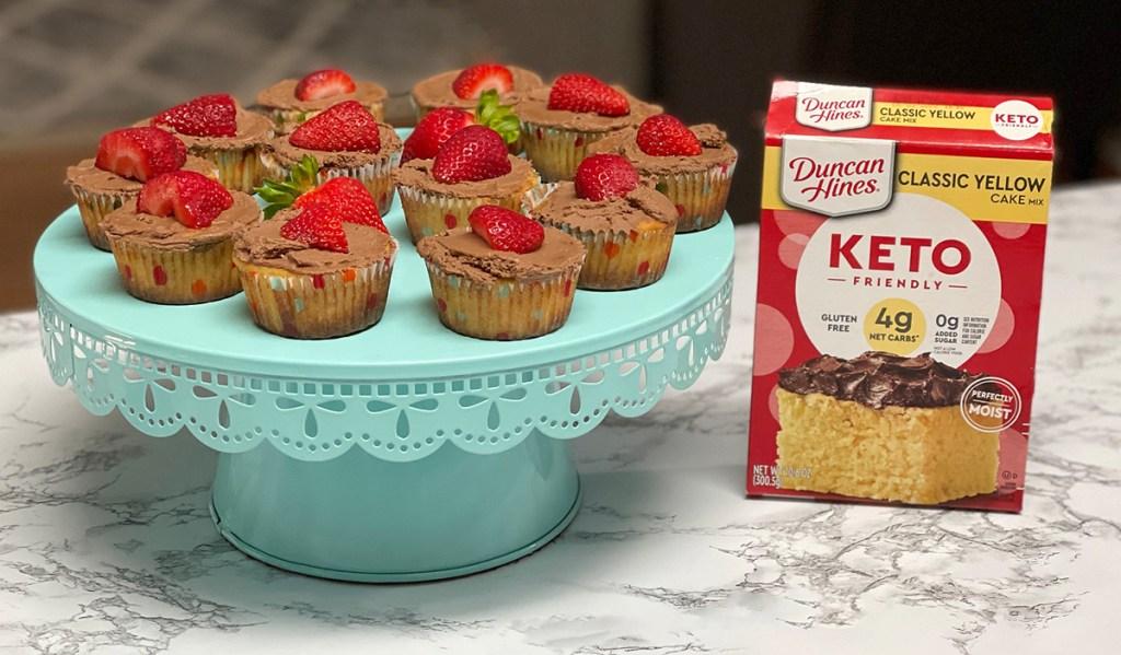 keto cupcakes on serving platter