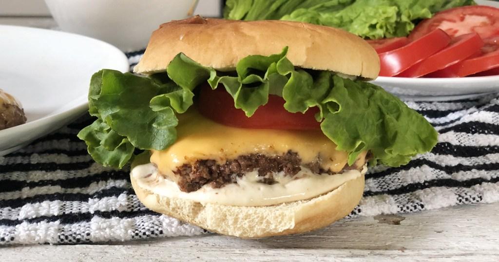 keto shake shack burger close up