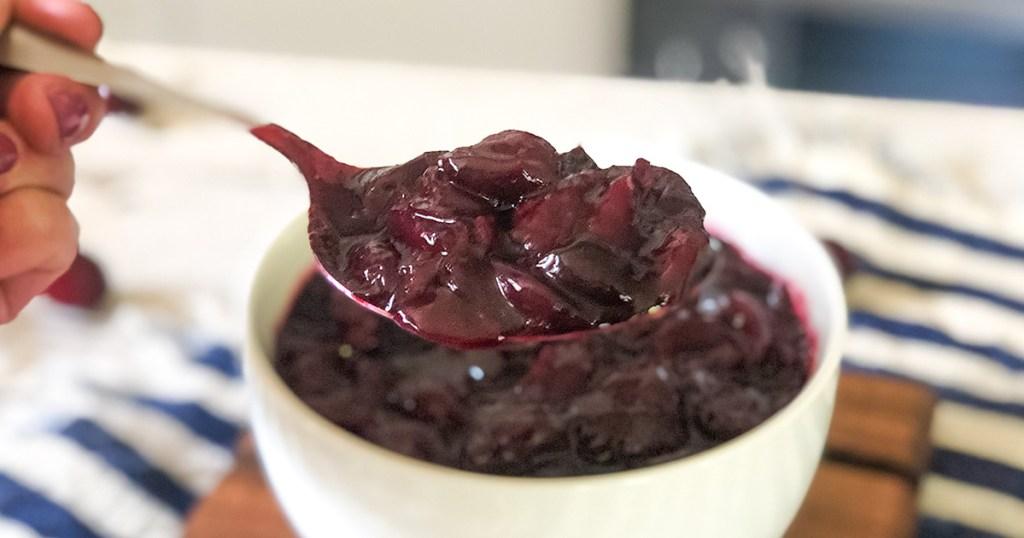 spoonful of keto sugar free cherry pie filling