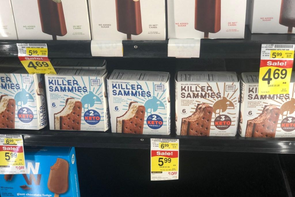 Killer Creamery keto ice cream sandwiches on store shelf