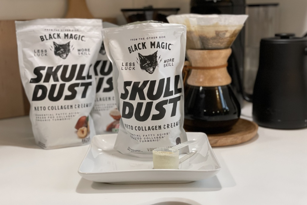 bags of Skull Dust keto coffee creamers