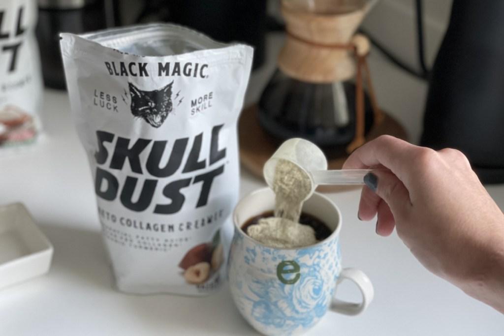 scoop of Skull Dust keto collagen creamer