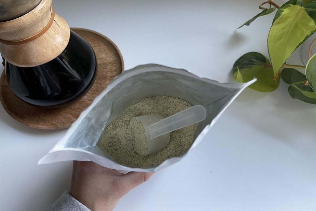 open bag of Skull Dust keto collagen creamer