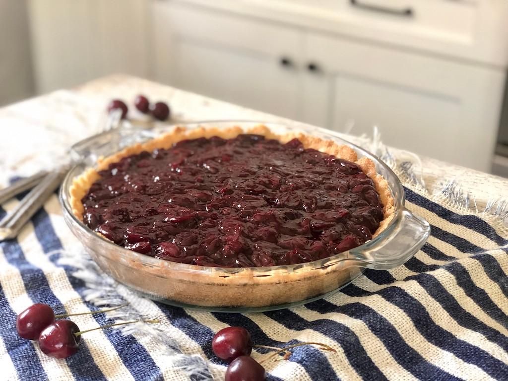 sugar free cherry pie on kitchen counter