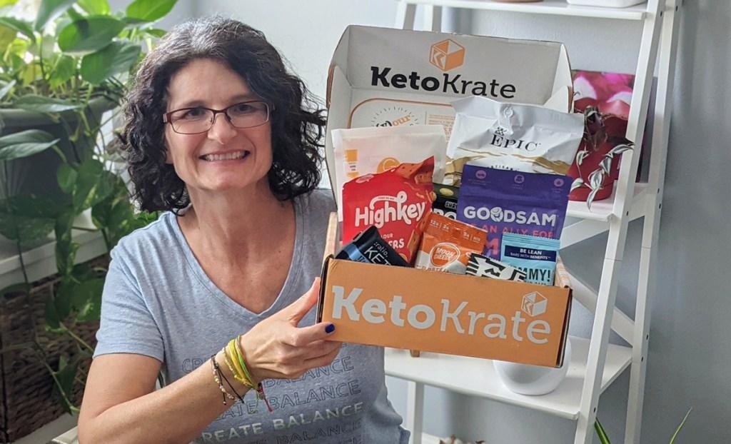 woman holding keto krate
