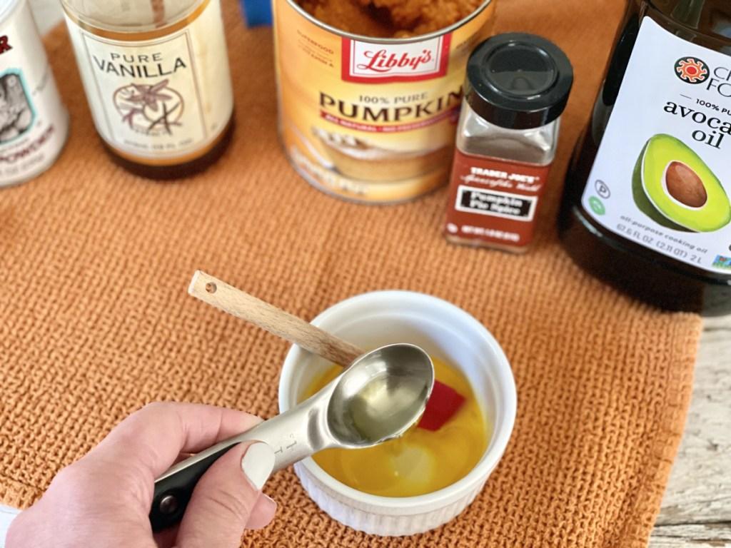 Keto Pumpkin Mug Cake adding avocado oil