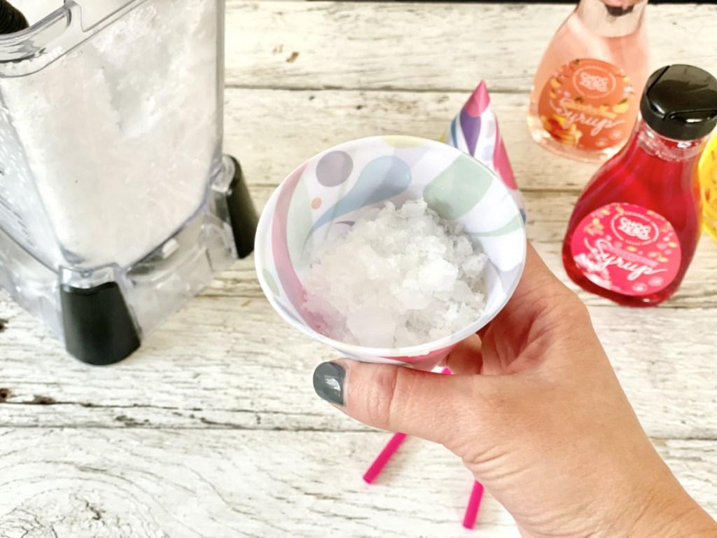 keto snow cones ice in paper cone