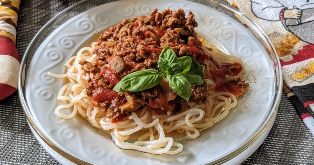keto umami meat sauce over low carb pasta