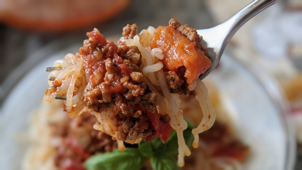 forkful of keto umami meat sauce