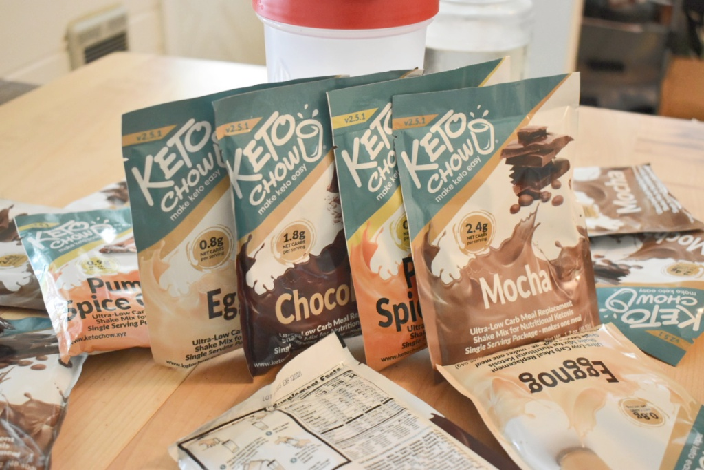 Keto Chow packets on table